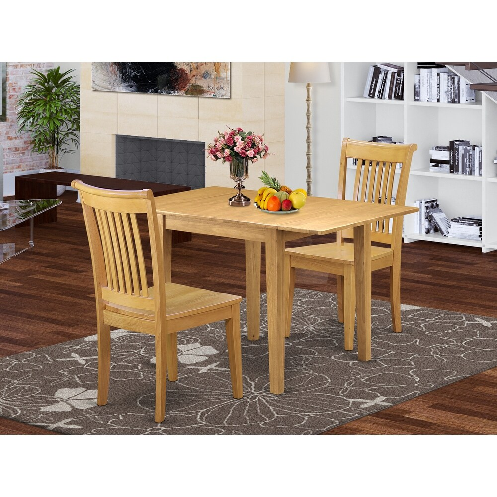 Kitchen Table and Dinette Chairs with Solid Wood Seat and Slat Back (Number of Chairs Option) (2-Piece Sets)