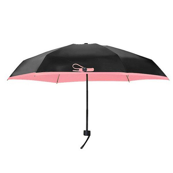 Super Mini Pocket Umbrella 5 Folds Outdoor UV-Protection Manual Foldable Umbrella