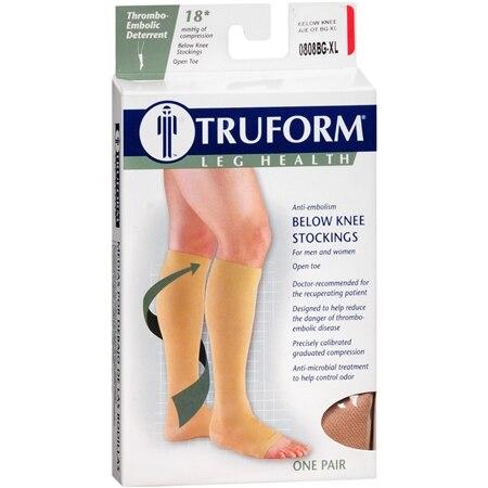 Truform Unisex 18 mmHg Open Toe Anti-Embolism Below Knee Stockings XL - 1.0 pr