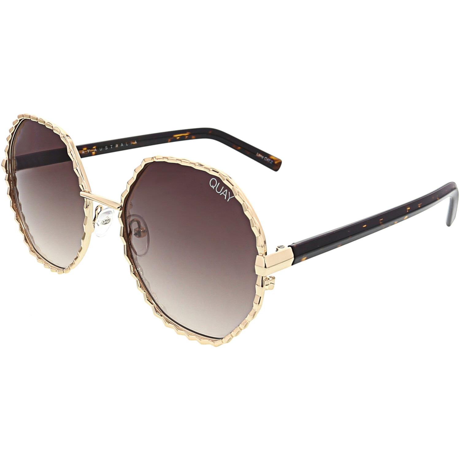 Quay Womens Gradient Breeze In QW-000378-GLD/BRN Gold Geometric Sunglasses