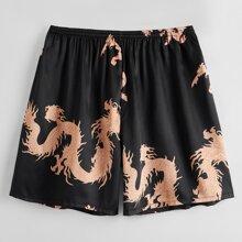 Guys Dragon Print Satin Pajama Shorts
