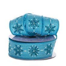 Polyester Glitter 1-1/2 X10 Yards Turq Sparkling Snowflake Linen Ribbon Polyethyleneester - Embellishments & Trims by Paper Mart