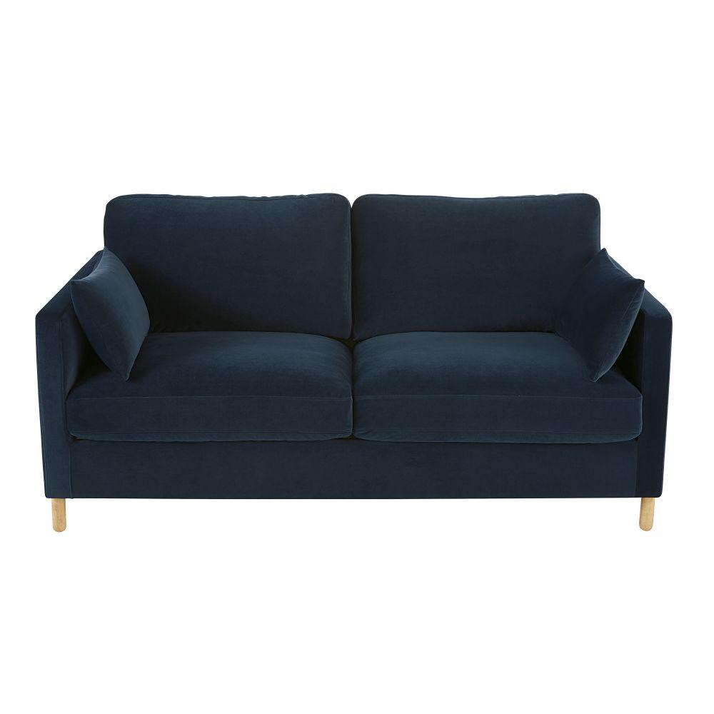 3-Sitzer-Schlafsofa mit Samtbezug nachtblau, Matratze 10cm Julian