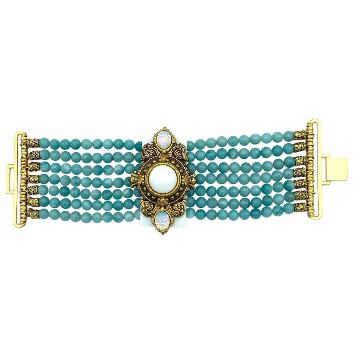 Non Signe / Unsigned Turquoises Armband in  Tuerkis Vergoldet