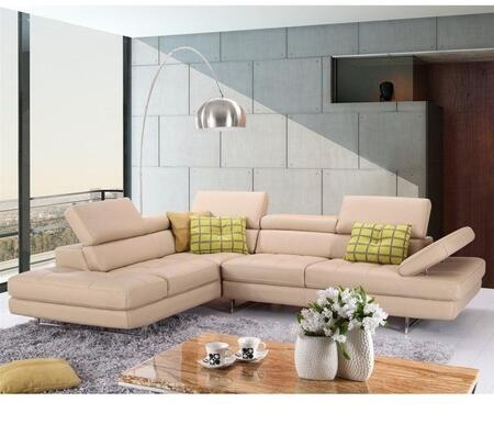 1785523-LHFC Italian Leather Sectional Peanut In Left hand