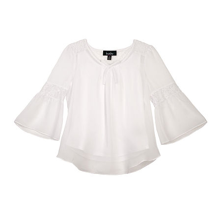 by&by girl Big Girl Lace Back Bell Sleeve Peasant Top, Large , White