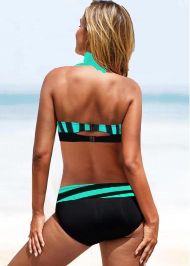 Sexy Bikinis Cyan Stripe Print Knot Detail Bikini Set - L