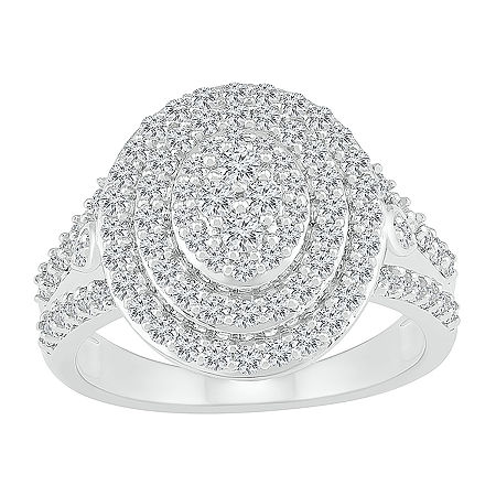 Womens 1 CT. T.W. Genuine White Diamond 10K White Gold Cocktail Ring, 8 , No Color Family