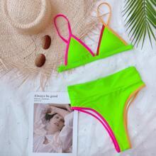 Neon Lime Dreieckiger Bikini Badeanzug mit Kontrast Bindung