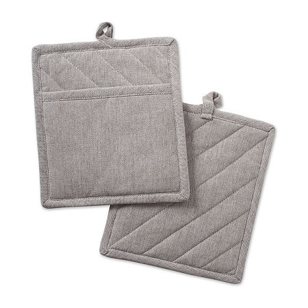 Design Imports Solid Chambray Kitchen 2-pc. Pot Holders, One Size , White