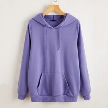 Letter & Butterfly Print Drawstring Hoodie
