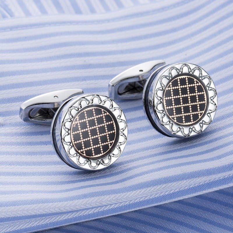 Men Shirt Business Dress Round Cufflinks Business Wedding Party Suit Geometrical Cufflinks