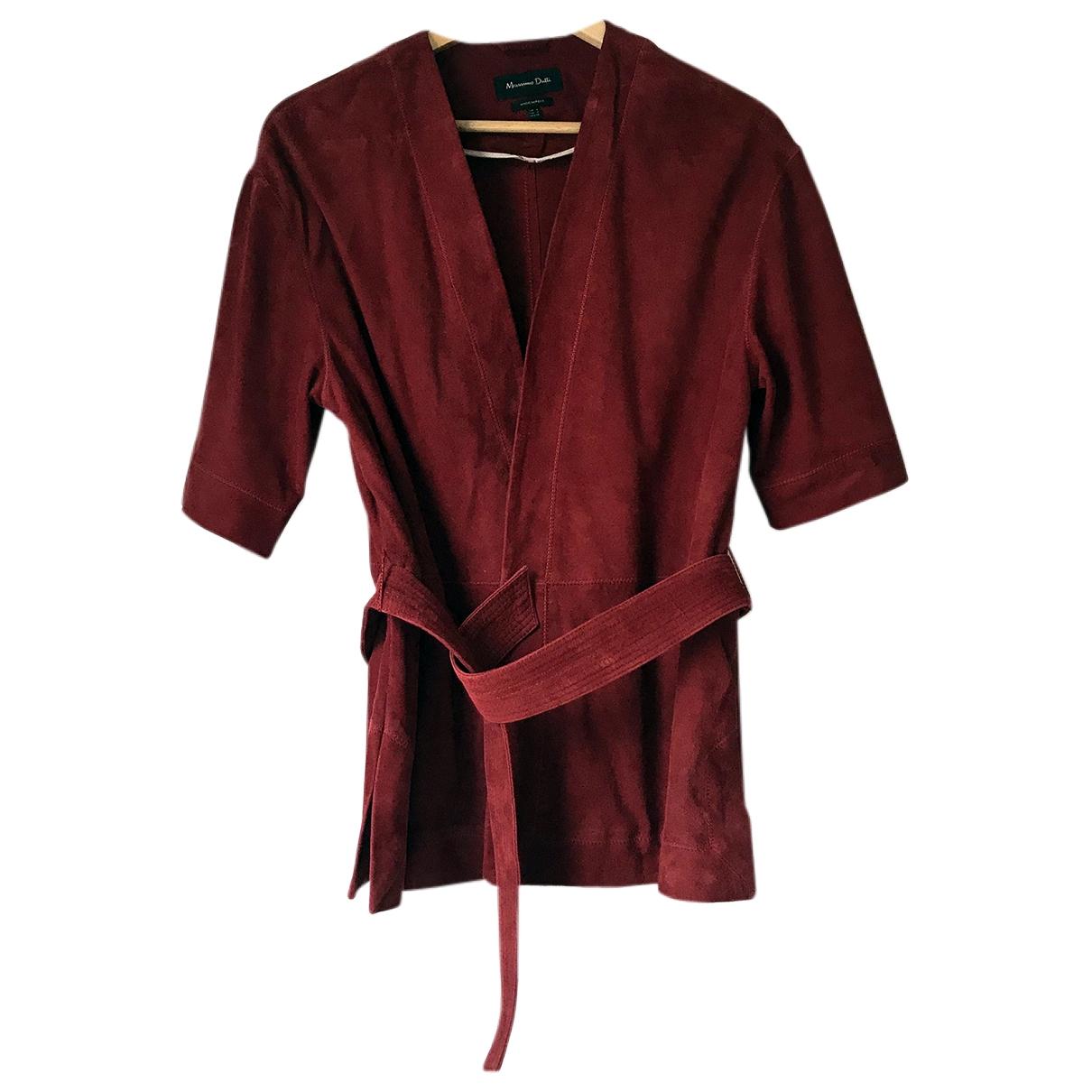 Massimo Dutti \N Jacke in  Rot Veloursleder