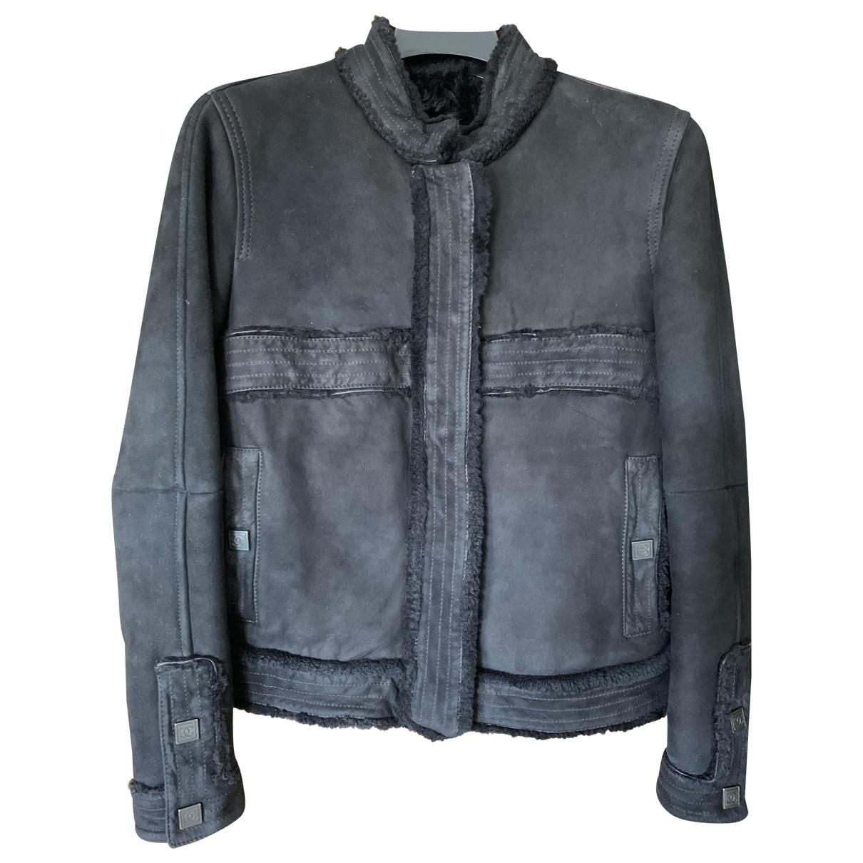 Chanel \N Black Shearling Leather jacket for Women 40 FR