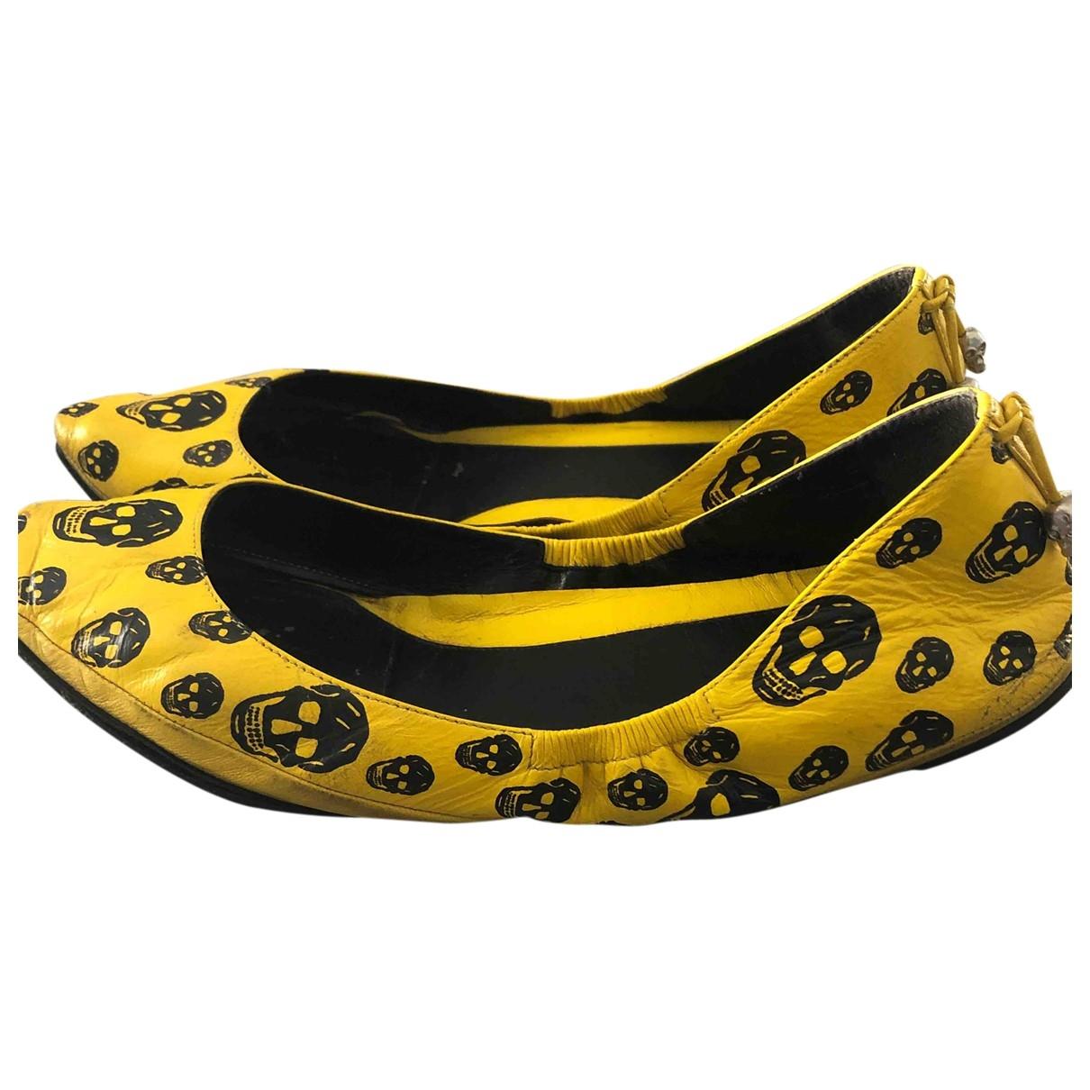Mcq - Ballerines   pour femme en cuir - jaune