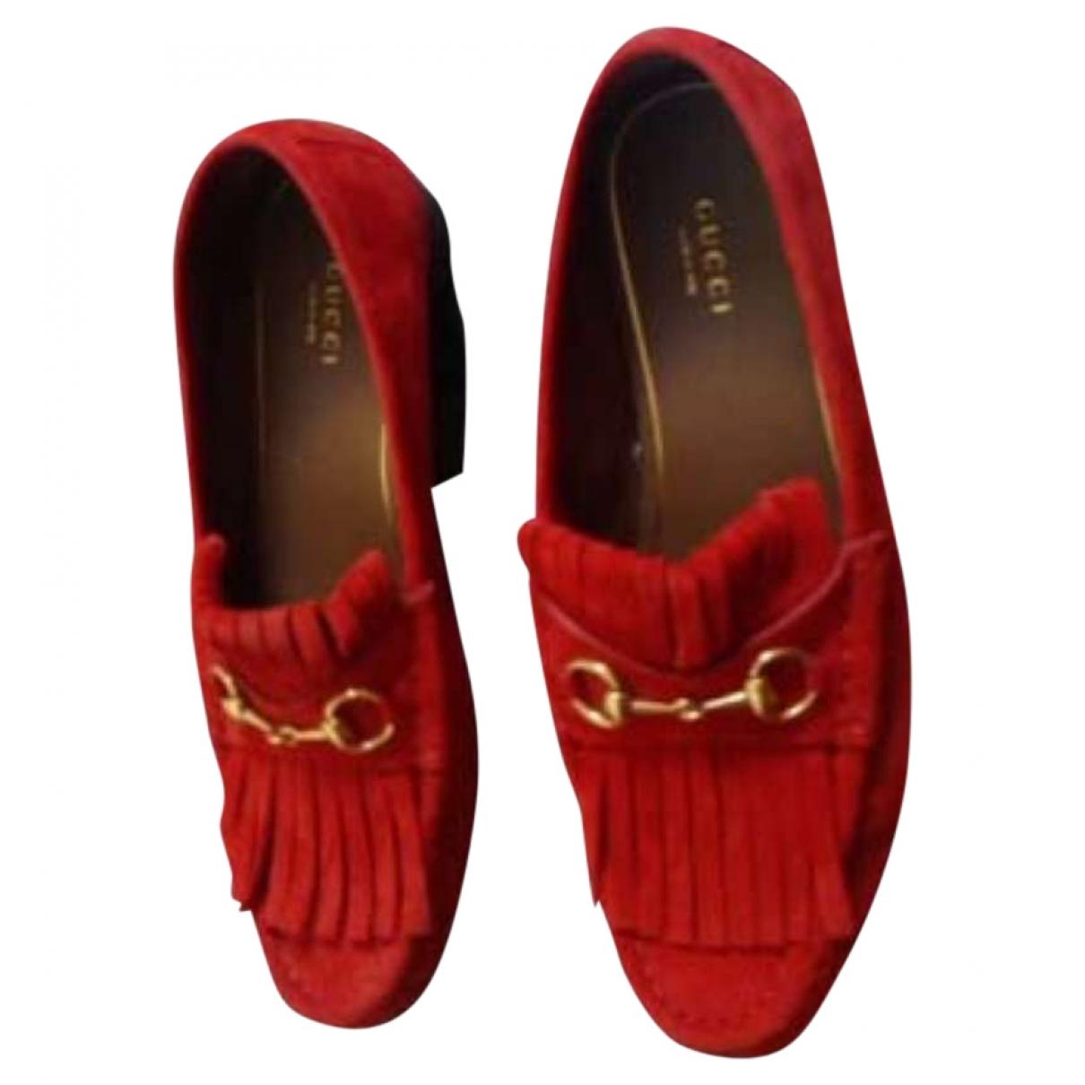 Gucci \N Red Suede Flats for Women 38 EU
