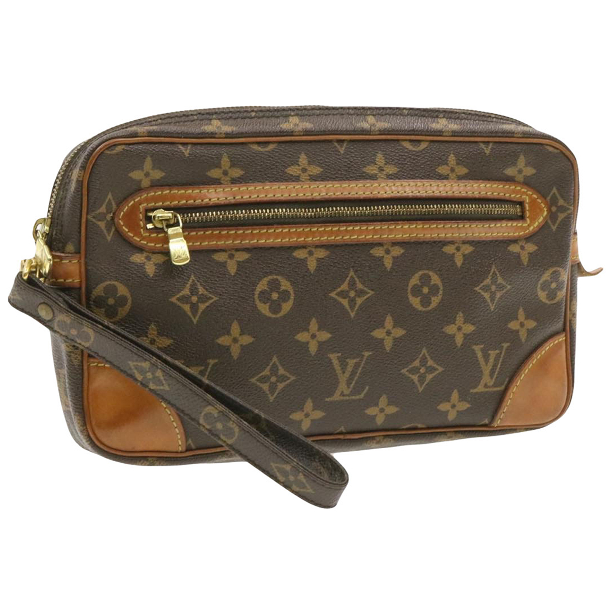 Louis Vuitton Marly Dragonne  Clutch in  Braun Leinen