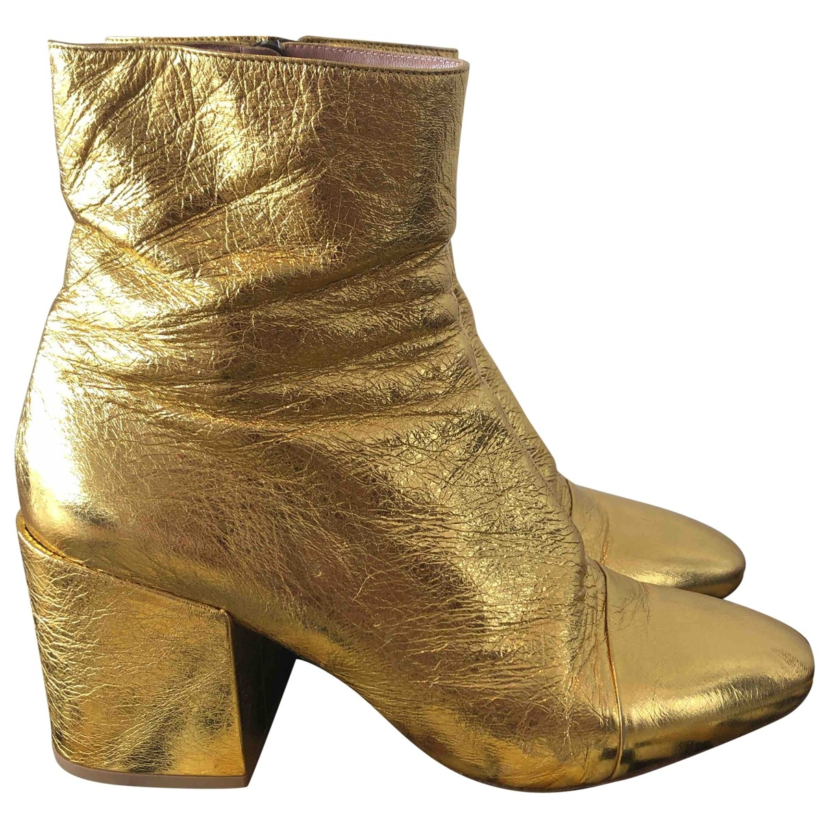 Dries Van Noten \N Gold Leather Ankle boots for Women 41 EU