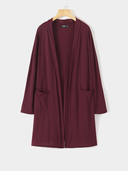 Yoins Side Pockets Open Front Long Sleeves Cardigan