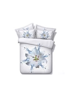 Pure Dewy Lily Printed 3D 4-Piece White Bedding Sets/Duvet Cover