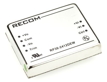 Recom RP30 EW 30W Isolated DC-DC Converter Through Hole, Voltage in 10 → 40 V dc, Voltage out ±12V dc