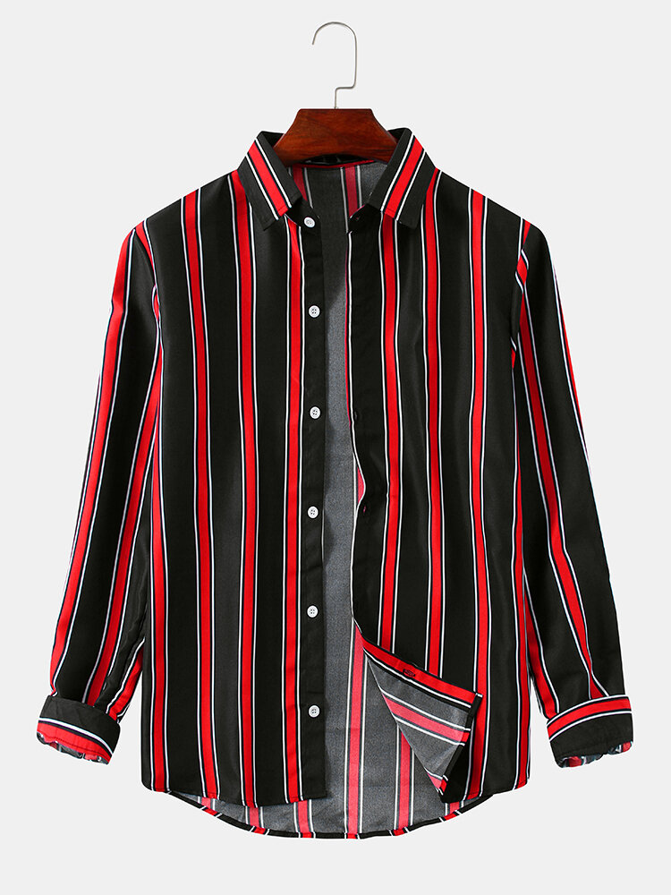 Mens Contrast Color Vertical Stripe Relaxed Fit Casual Long Sleeve Shirts