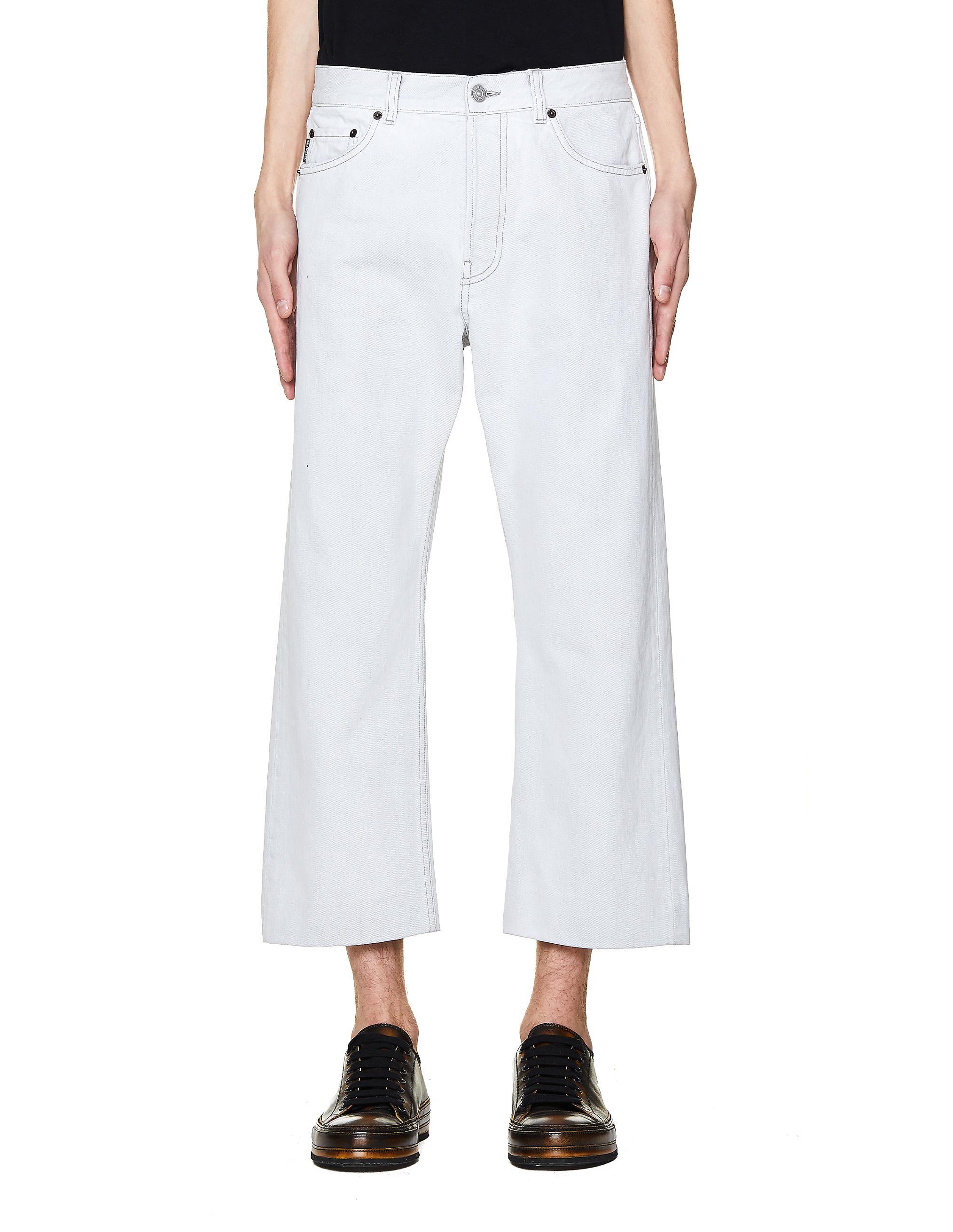 Balenciaga White Cropped Cotton Jeans