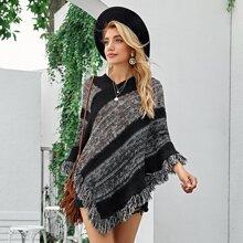 Colorblock Fringe Trim Poncho Sweater