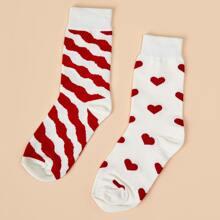 2 Paare Kleinkind Maedchen Socken mit Herzen Muster