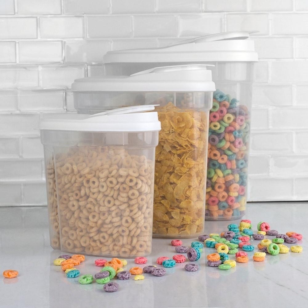 Home Basics Plastic Dry Food Container Set Easy-pour Lids 3pc Set (3 Piece Storage Containers)