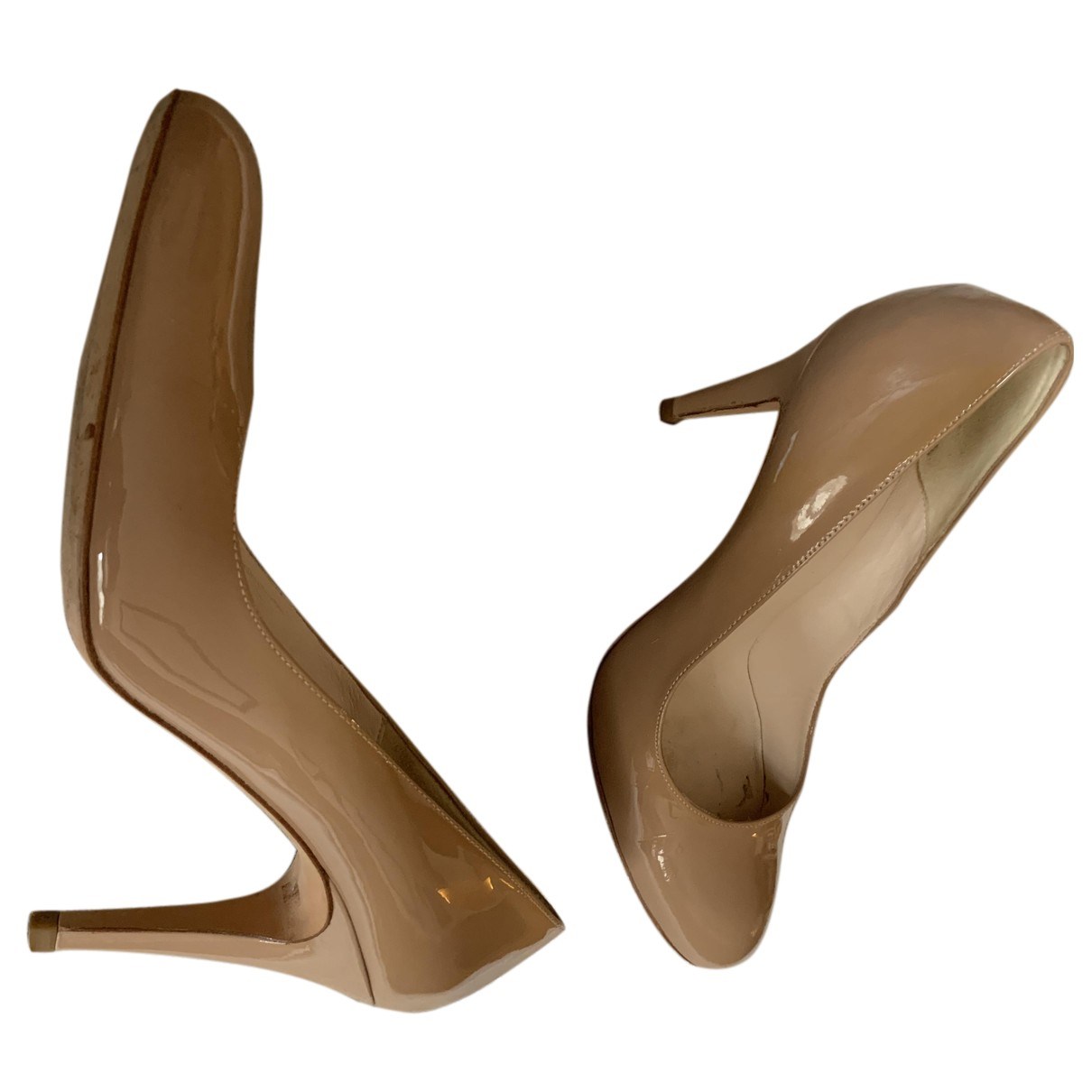 Minelli N Beige Patent leather Heels for Women 40 EU