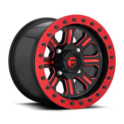 MHT Fuel Off-Road Hardline D911 Beadlock Wheel, 15x10 with 4 on 136 Bolt Pattern - Black / Red - D9111500A664