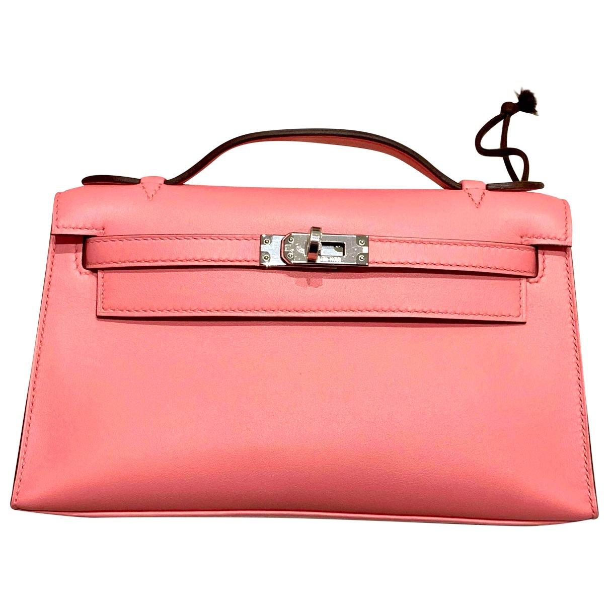 Hermes - Pochette Kelly Clutch pour femme en cuir - rose