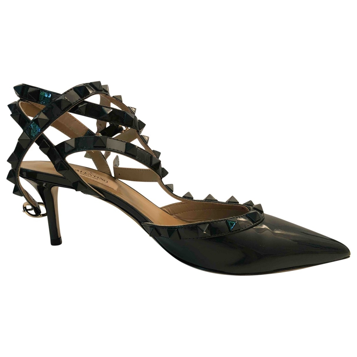 Valentino Garavani Rockstud Green Patent leather Heels for Women 37.5 EU
