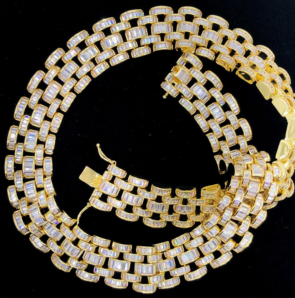 Baguette Jubilee Hip Hop Bling Bling CZ Iced Out Chain