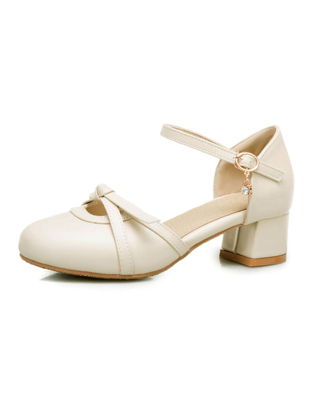Milanoo Women\'s Sandals Puppy Heel Buckle Sandals Chic Slip-On Round Toe Plus Size Ecru White Sandals
