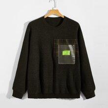 Pullover mit Karo Muster und Buchstaben Flicken