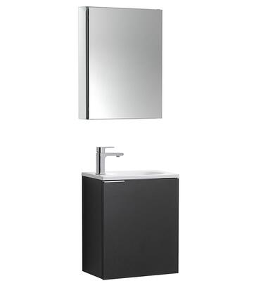 Valencia Collection FVN8003BW 20 Wall Mount Sink Vanity with Medicine Cabinet  Acrylic Top  Soft Close Door and Faucet in