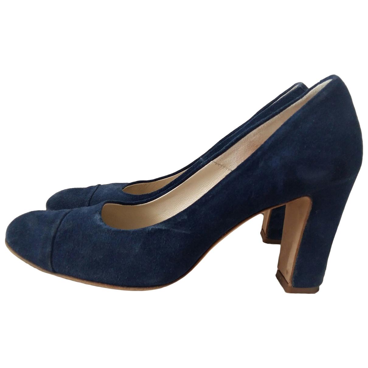 - Escarpins   pour femme en suede - bleu
