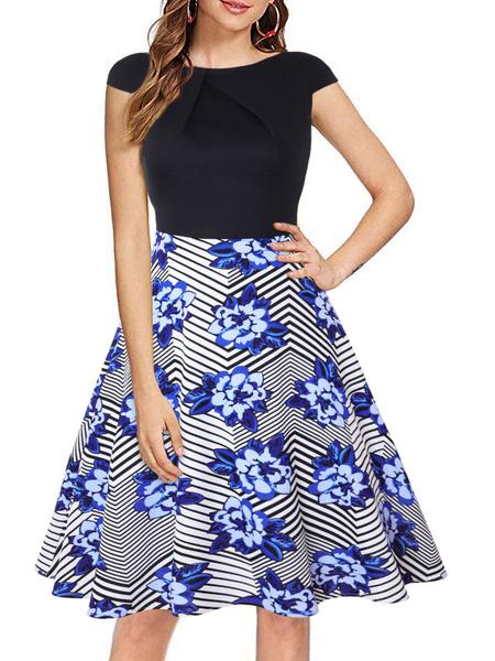 Milanoo Vintage Dress 1950s Jewel Neck Short Sleeves Woman Rockabilly Dress