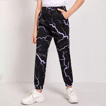 Boys Lightning Print Pants