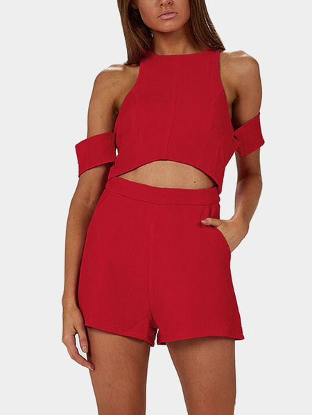Yoins Cold Shoulder Cutout Playsuit in Red