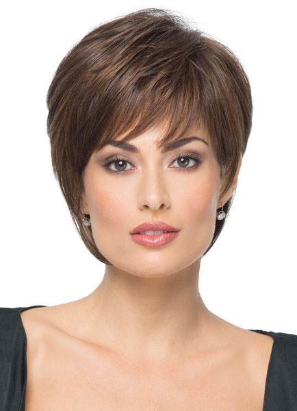 Milanoo Women Short Wigs 2020 Straight Boycuts Brownish Black Synthetic Hair Wigs With Side Swept Bangs