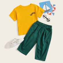 Kleinkind Jungen T-Shirt mit Buchstaben Grafik & Hose