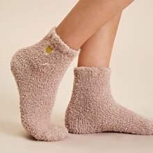 Flauschige Socken mit Herzen Stickereien 1 Paar