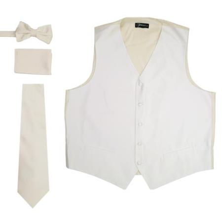 Mens 4PC Big and Tall Vest & Tie & Bow Tie and Hankie Off White