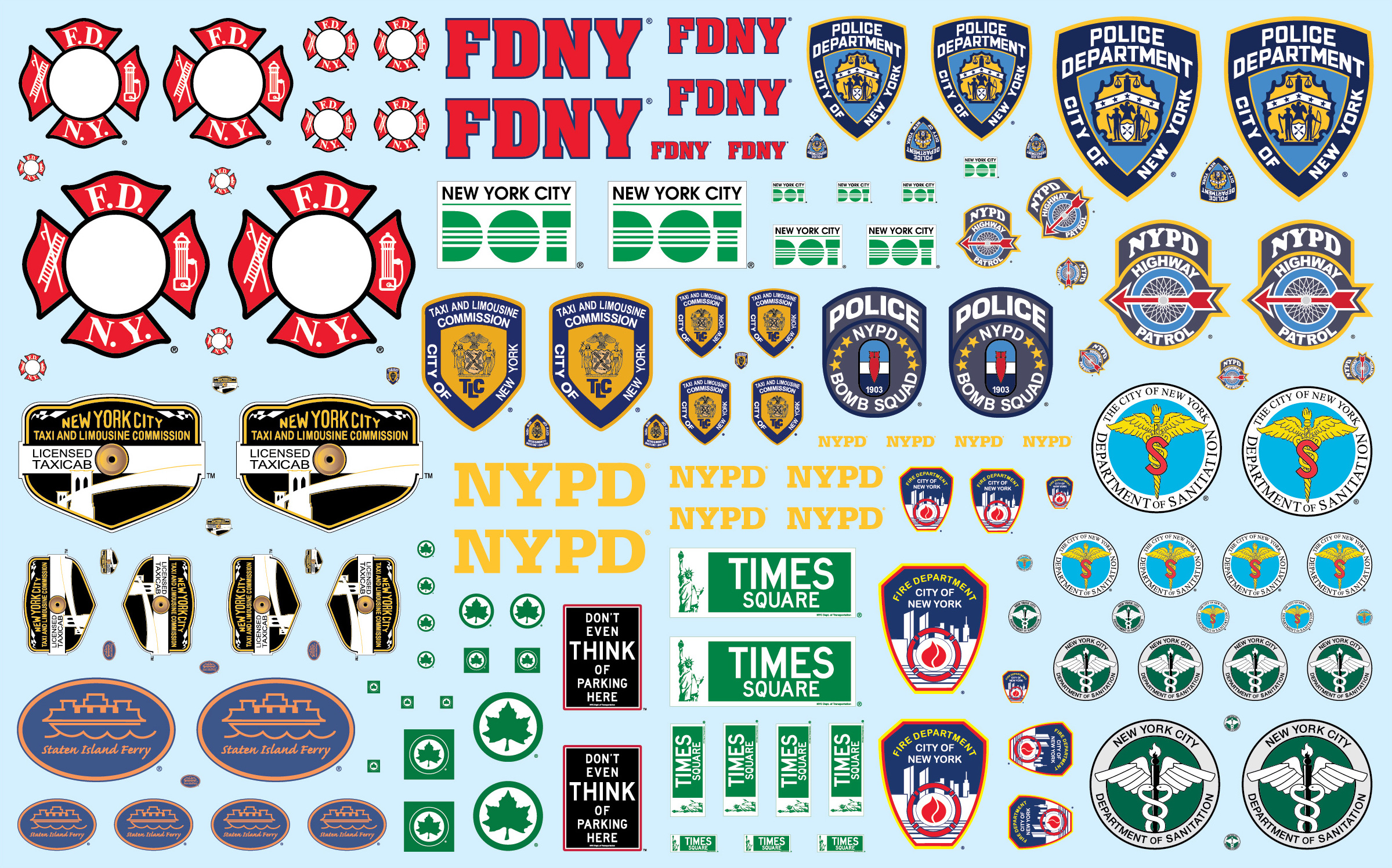 NYC Auxiliary Service Logos Decals for 1/25 Scale Models by AMT