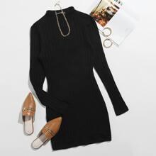 Strick einfarbiges Kleid