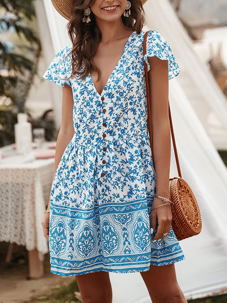 Milanoo Boho Summer Dress Light Apricot V-Neck Printed Buttons Short Beach Dress