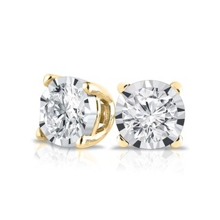 Lab Grown 1/6ctw Diamond Stud Earrings 14k Gold by Ethical Sparkle (Yellow)